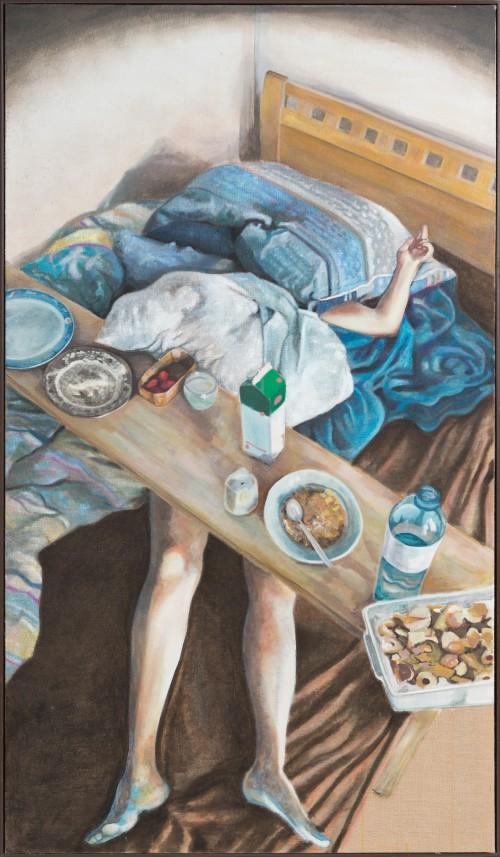 Die Frühstückssituation oder Trial and Error, Öl und Wachs auf Jute, 250 x 145 cm