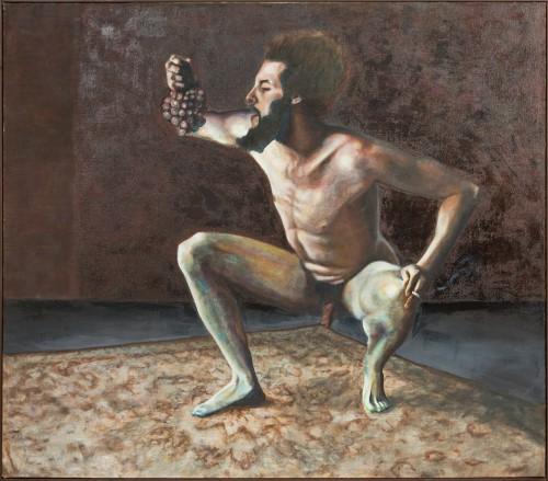 Im Keller der Lüste oder King Frog, Öl und Wachs auf Jute, 200 x 230 cm