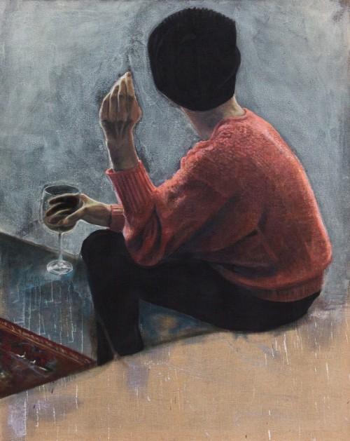 Mädchen von hinten, Öl und Wachs auf Jute, 120 x 150 cm